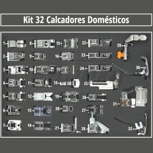 Kit com 32 Calcadores para Costura, Quilting e Patchwork